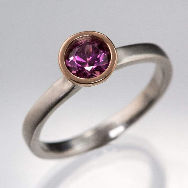 Mixed Metal Grape Pink Fair Trade Sapphire Engagement Ring - by Nodeform