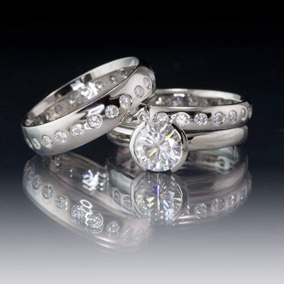 Narrow Moissanite Flush Set Eternity Wedding Ring