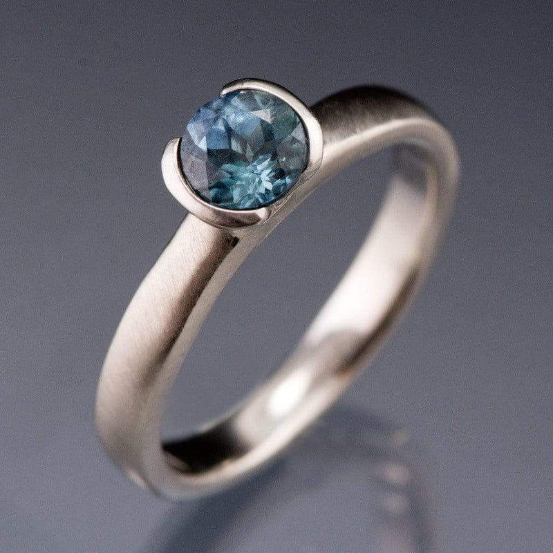 Round Fair Trade Blue Teal Blue Malawi Sapphire Half Bezel Solitaire Engagement Ring