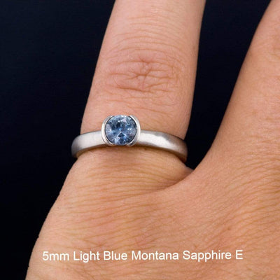 Fair Trade Teal / Blue Montana Sapphire Half Bezel Engagement Ring - by Nodeform