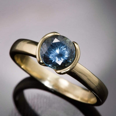 Fair Trade Green/ Blue Montana Sapphire Half Bezel Engagement Ring - by Nodeform