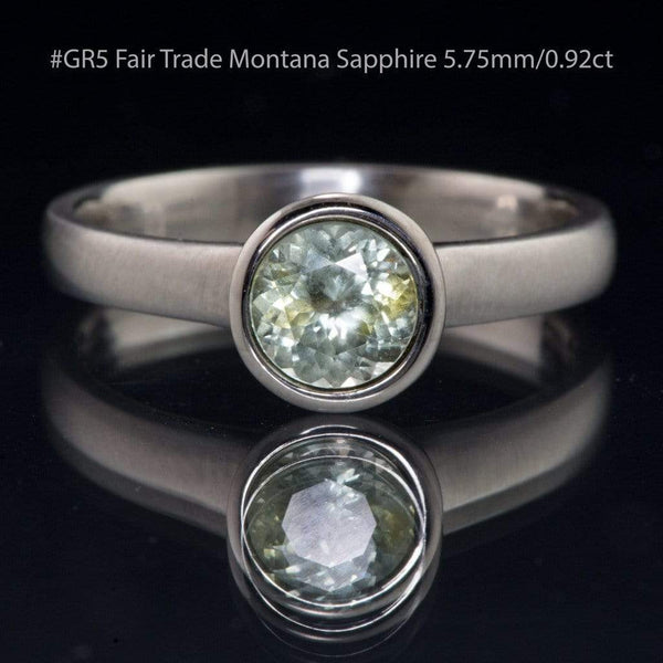 Fair Trade Pale Green to Creamy White Montana Sapphire Peekaboo Bezel Solitaire Engagement Ring