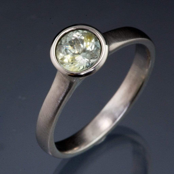 Fair Trade Pale Green to Creamy White Montana Sapphire Peekaboo Bezel Solitaire Engagement Ring - by Nodeform