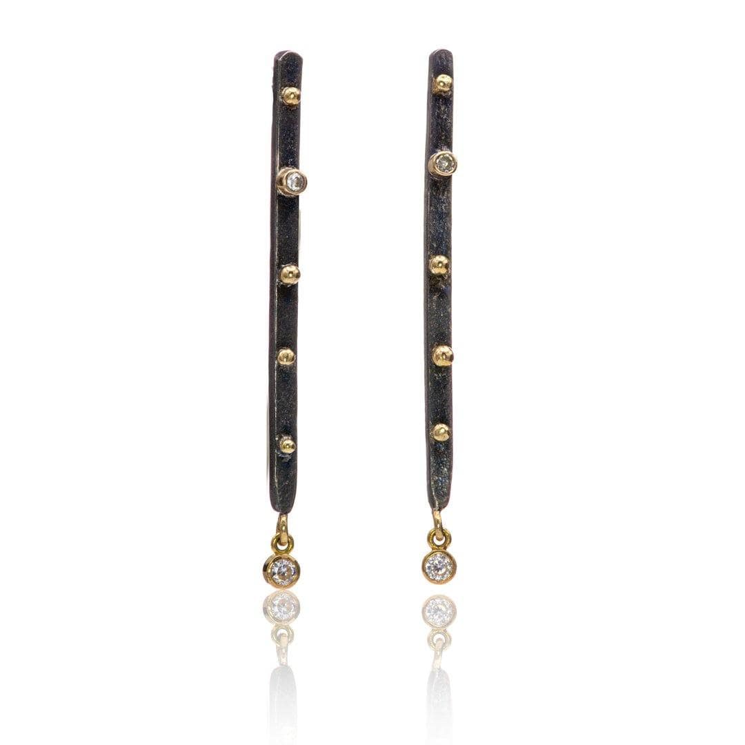 Moissanite Textured Darkened Sterling Silver & Gold Accented Long Bar Studs Earrings {ready to ship}