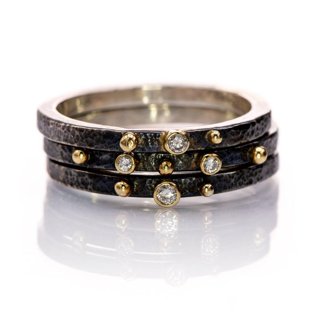 Diamonds on Textured Darkened Sterling Silver & Gold Accented Stacking Rings {ready to ship}