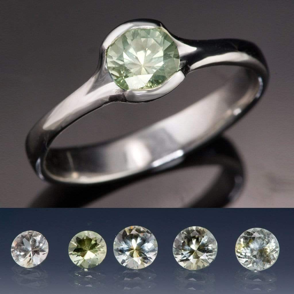 Pastel Green Fair Trade Montana Sapphire Round Fold Solitaire Engagement Ring