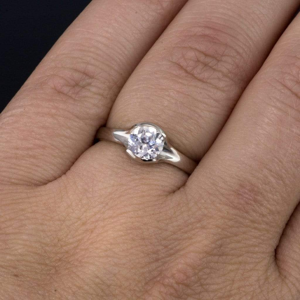 Lab Created Round White Sapphire Fold Solitaire Engagement Ring
