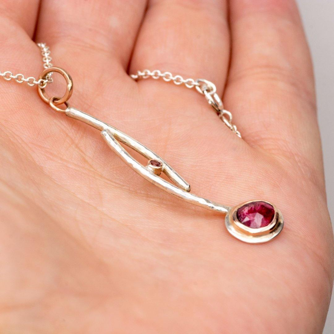 Rose cut Pink Tourmaline Pendant Necklace in Sterling Silver and 14k Rose gold , Ready to ship
