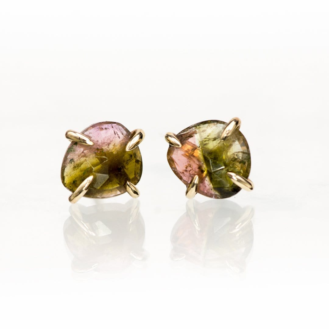 Watermelon Pink/Green Rose Cut Tourmaline 14k Yellow Gold Prong Stud Earrings, Ready to Ship