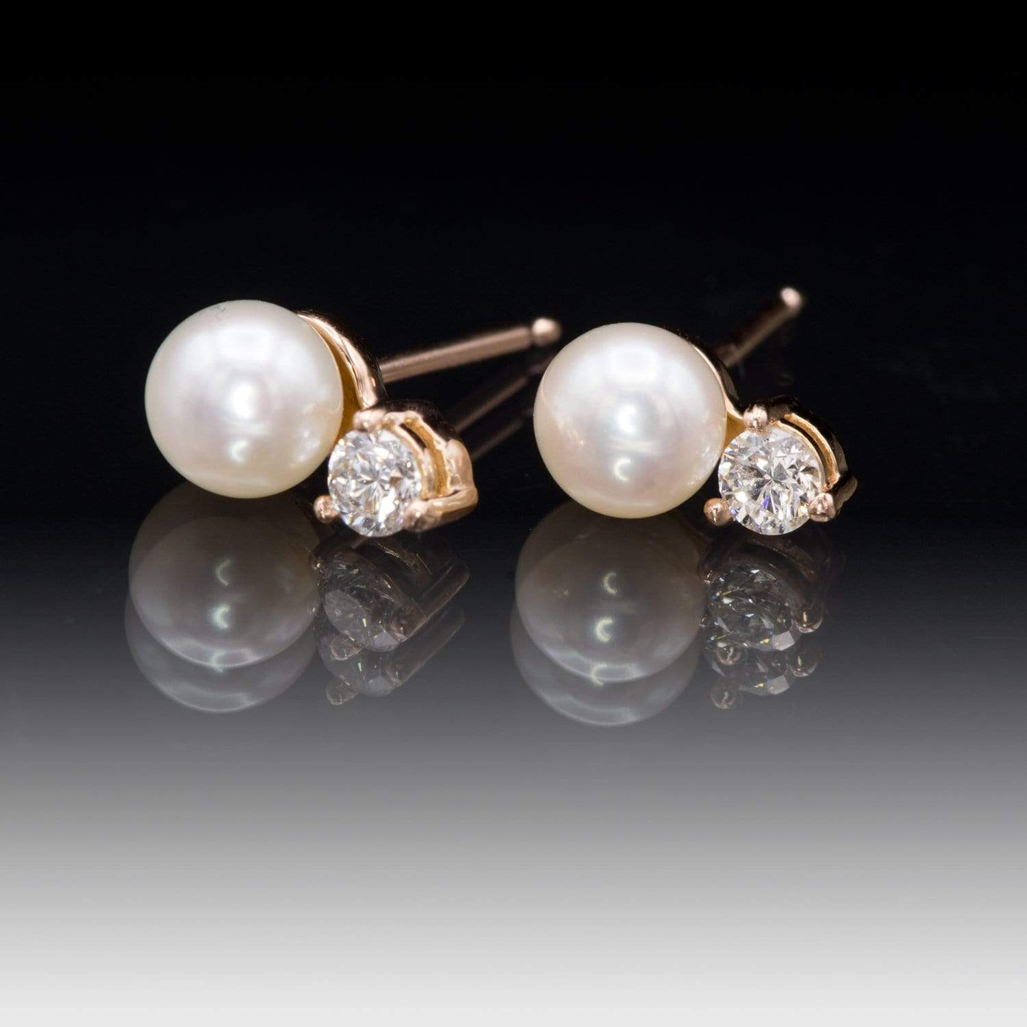 White Freshwater Cultured Pearl & Diamond Cluster Stud Earrings