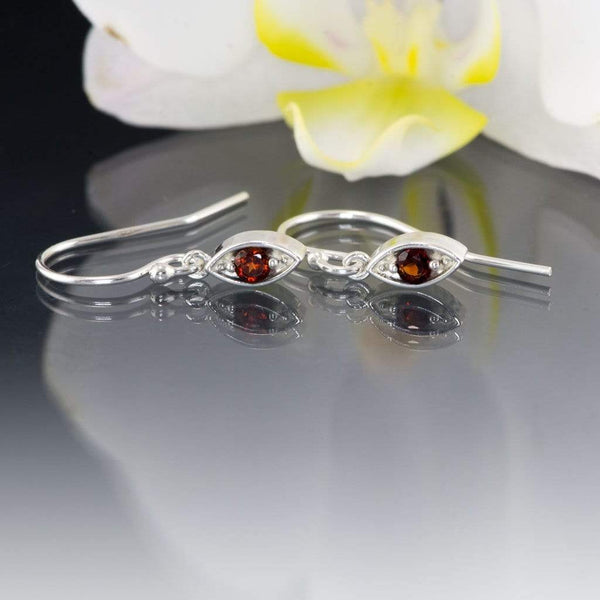 Garnet Sterling Silver Marquise Shape Dangle Earrings - by Nodeform