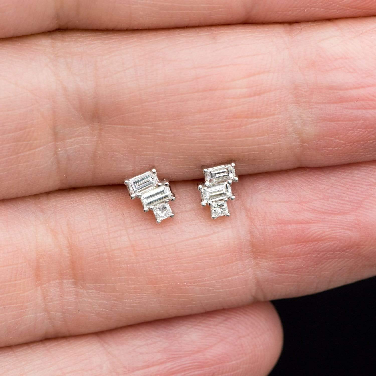 Geometric Art Deco Inspired Baguette and Princess Diamond Cluster Stud Earrings