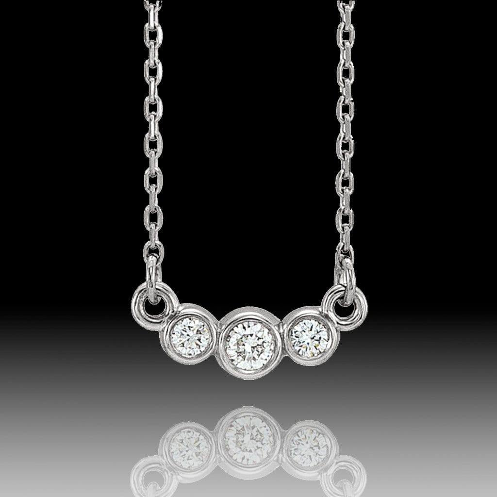 1/8 CTW Diamond Graduated Round Bezel Pendant Necklace