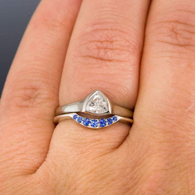 Selena - Graduated Blue Sapphire Curved Contoured Stacking Wedding Ring