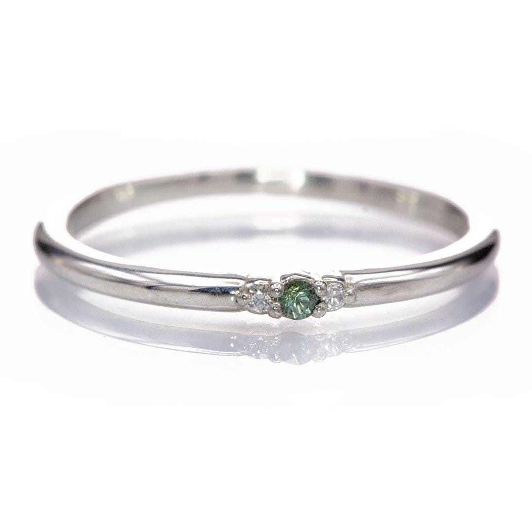 3-stone Diamond & Green Montana Sapphire Stacking Wedding Ring in Sterling Silver {Ready to Ship}