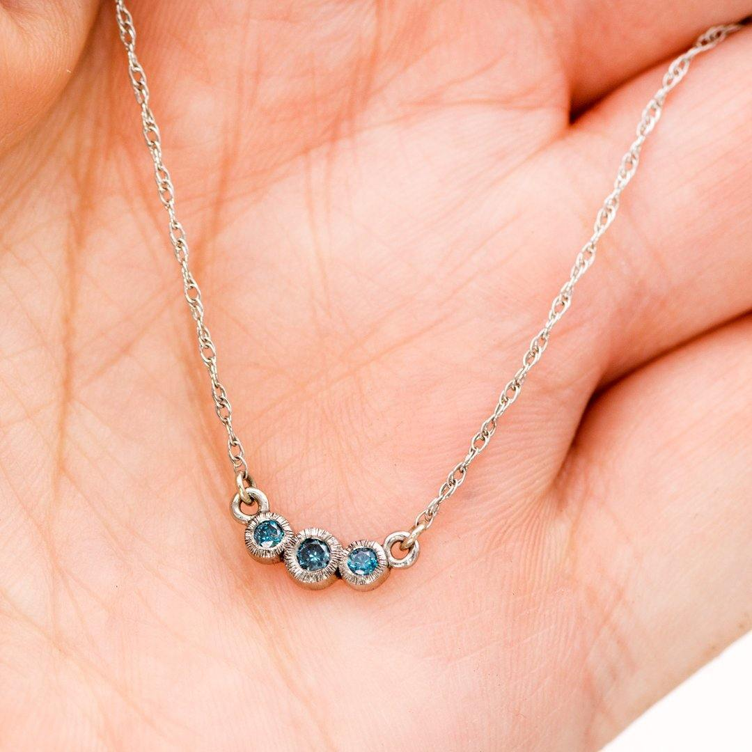1/8 CTW Teal Diamond Graduated Round Bezel Palladium Pendant 14k White Gold Necklace, Ready to Ship