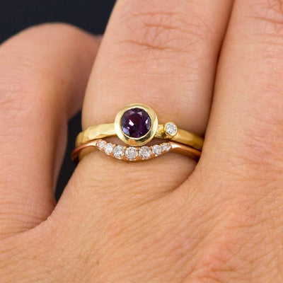 Fair Trade Grape Pink Sapphire and Diamond Engagement Ring