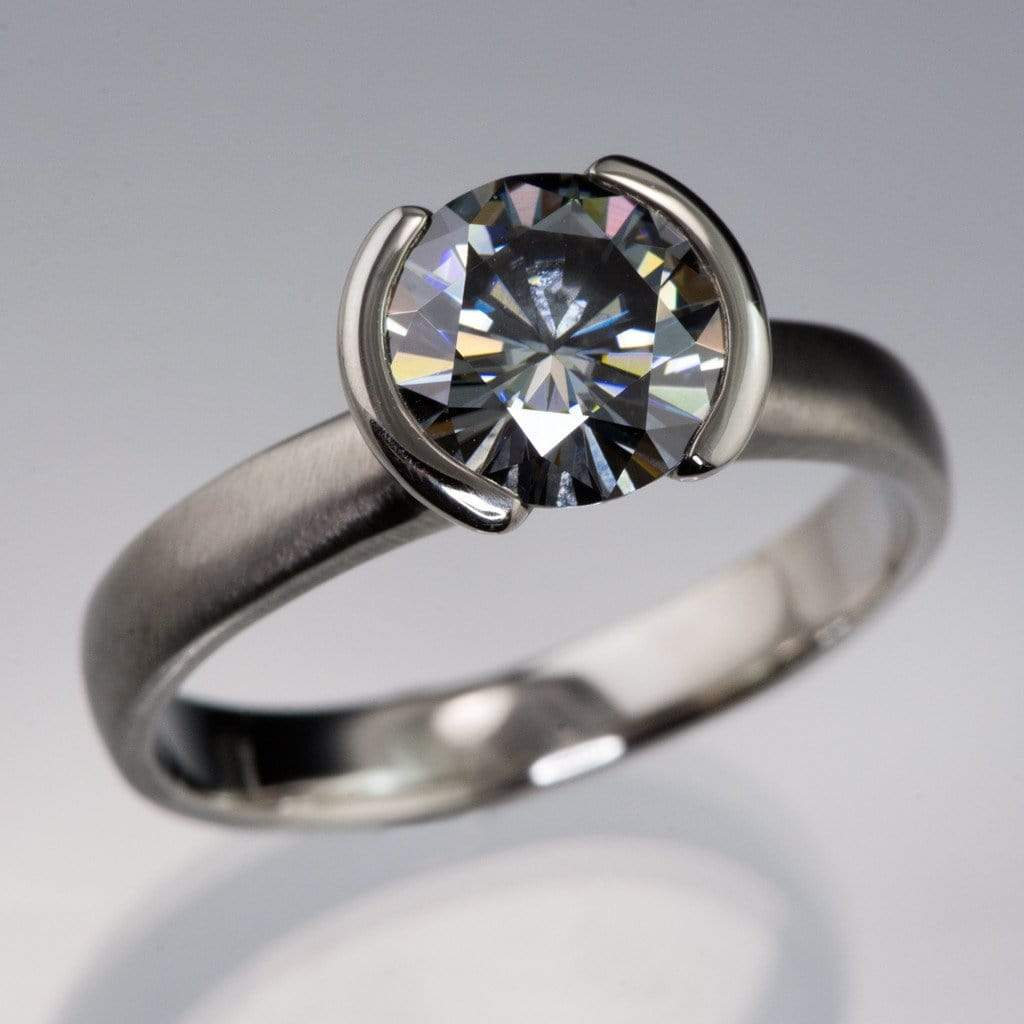 Round Gray Moissanite Half Bezel Solitaire Engagement Ring: Artisan Wedding Rings And Bands At Websimilar.org