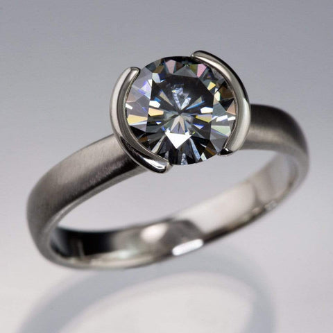 2ct Round Gray Moissanite Half Bezel Solitaire Engagement Ring