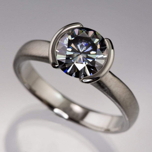 Round Gray Moissanite Half Bezel Solitaire Engagement Ring - by Nodeform