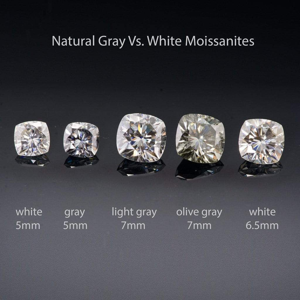 Popular Gray Cushion Cut Moissanite Fold Semi-Bezel Set Solitaire Engagement R WT48