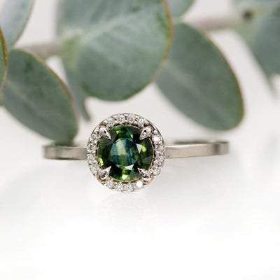 Teal Blue/Green Sapphire & White Diamond Halo White Gold Engagement Ring, size 4 to 9