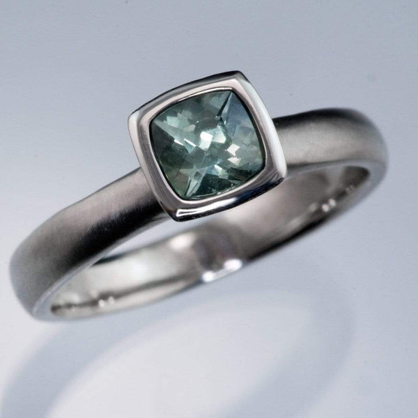 Teal Green/Blue Cushion Fair Trade Sapphire Bezel Engagement Ring
