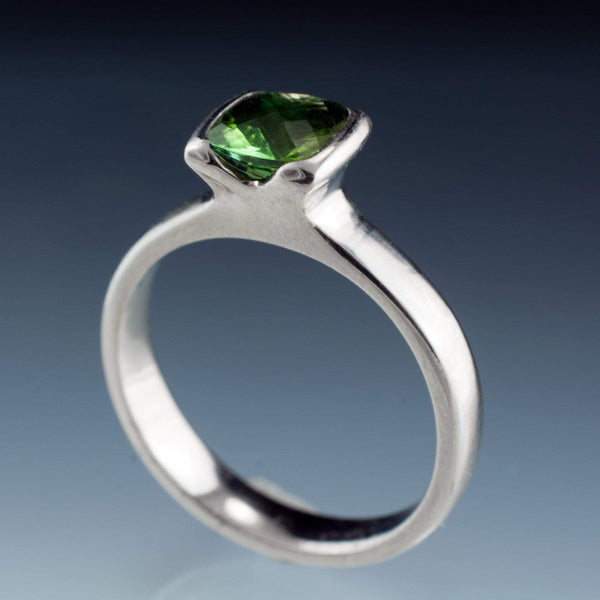 Cushion Cut Green Tourmaline Half Bezel Solitaire Engagement Ring