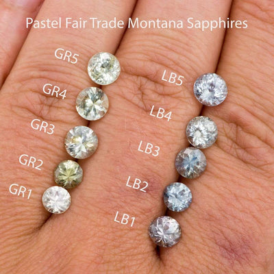 Pastel Light Blue Fair Trade Montana Sapphire Round Bezel Solitaire Engagement Ring