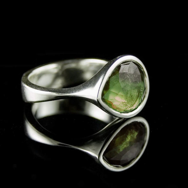 Pear Rose Cut Green Tourmaline Statement Cocktail Ring - by Nodeform