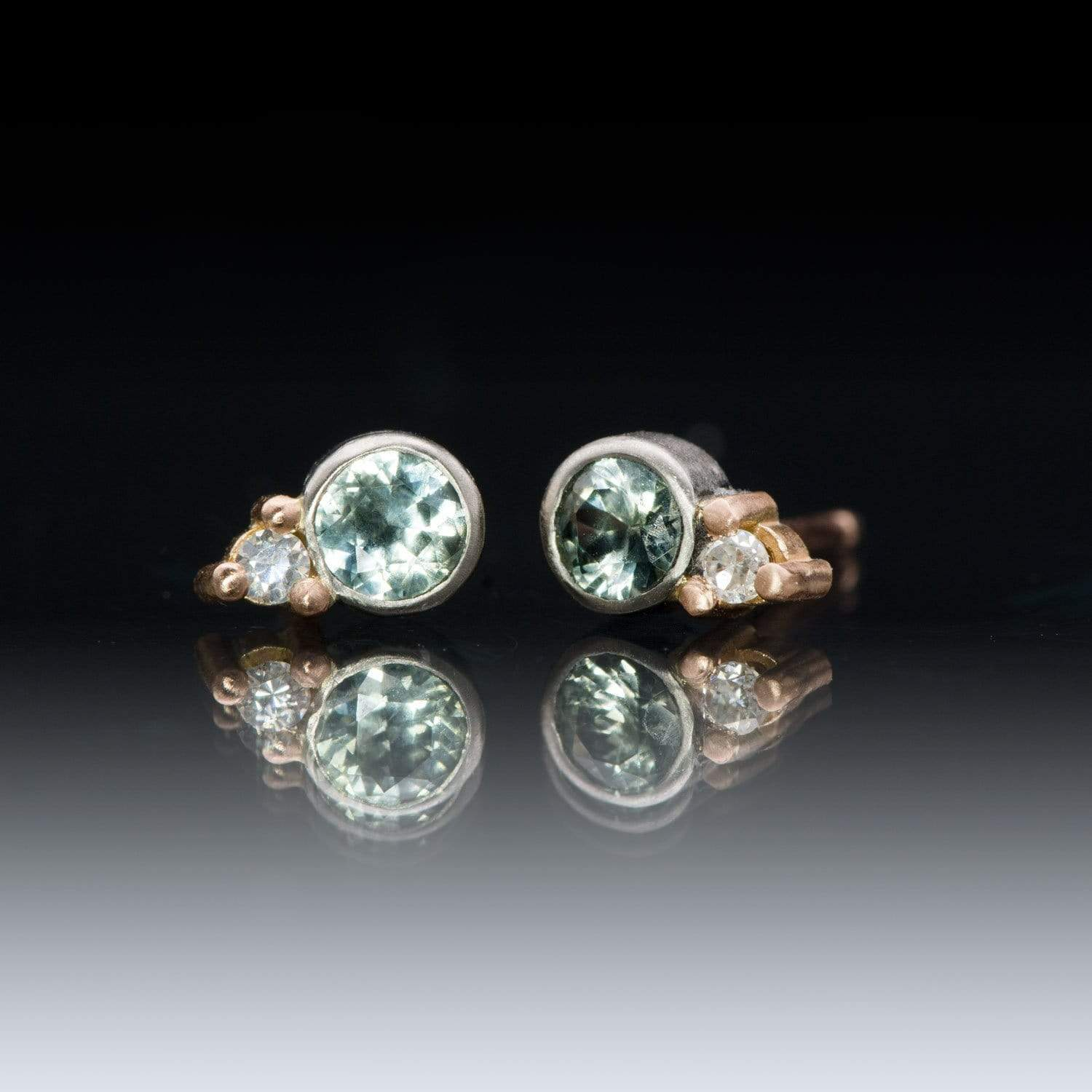 Fair Trade Green-blue Montana Sapphire Mixed Metal Bezel Stud Earrings With Moissanite Accents, Ready to Ship