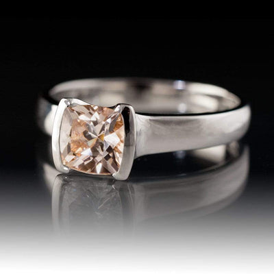 Cushion Cut Pink Morganite Half Bezel Solitaire Engagement Ring