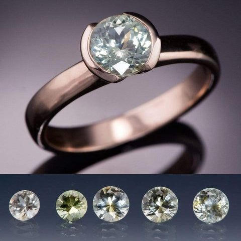 Fair Trade Creamy White to Pale Green Montana Sapphire Half Bezel Solitaire Engagement Ring - by Nodeform