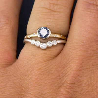 Velda - Graduated Diamond, Moissanite or Sapphire Curved Contoured Stacking Wedding Ring