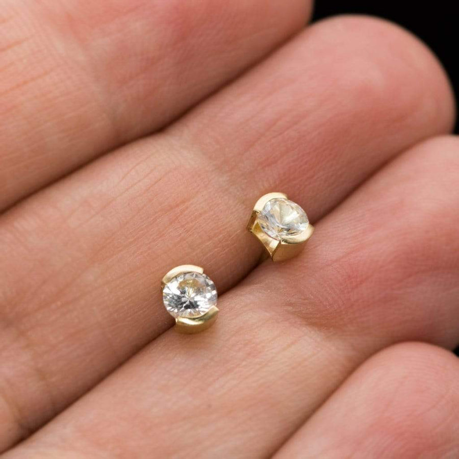White Sapphire 14k Yellow Gold Half Bezel Stud Earrings, Ready to Ship