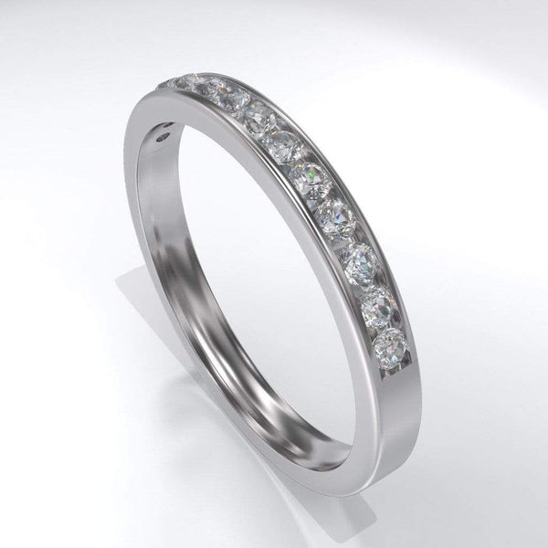Channel Set White Sapphire Wedding Band