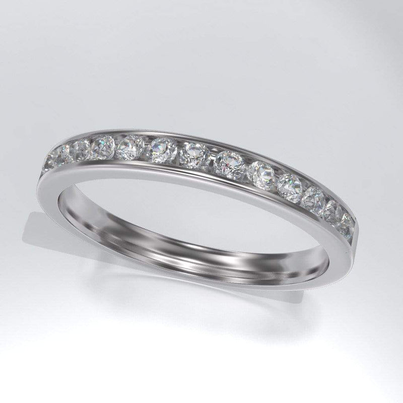Channel Set White Sapphire Wedding Band - by Nodeform