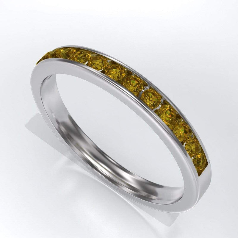 Channel Set Yellow Sapphire Wedding Band - by Nodeform