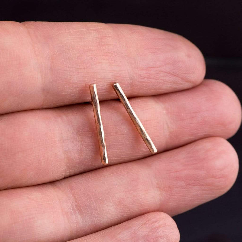 Long Hammered Bar Studs Earrings
