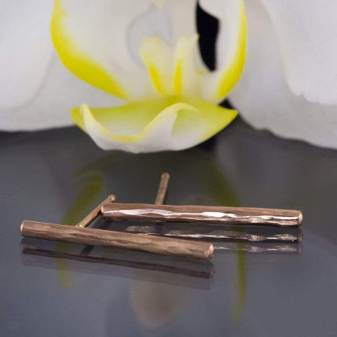 Hammered Rose Gold Bar Studs Earrings, Ready to Ship