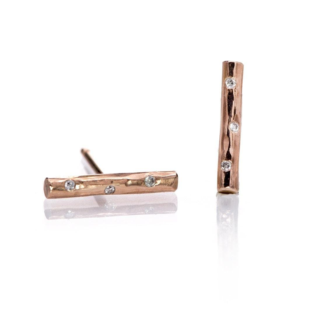 Short Hammered Bar Studs Earrings with Flush set diamonds