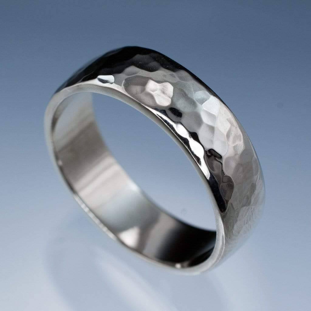 Wide Hammered Domed Wedding Band