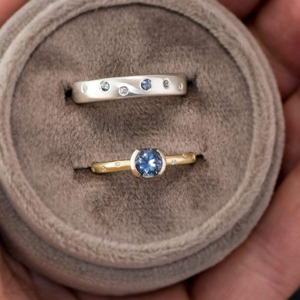 Domed Wedding Band with Flush set Montana Sapphires and Recycled Diamonds