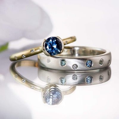 Blue Montana Sapphire & Canadian Diamond Half Bezel Gold Engagement Ring, Ready To Size 5-9