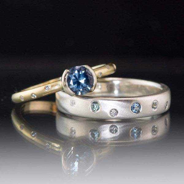 Domed Sterling Silver Wedding Band with Montana Sapphires & Recycled Diamonds, Ready to Ship