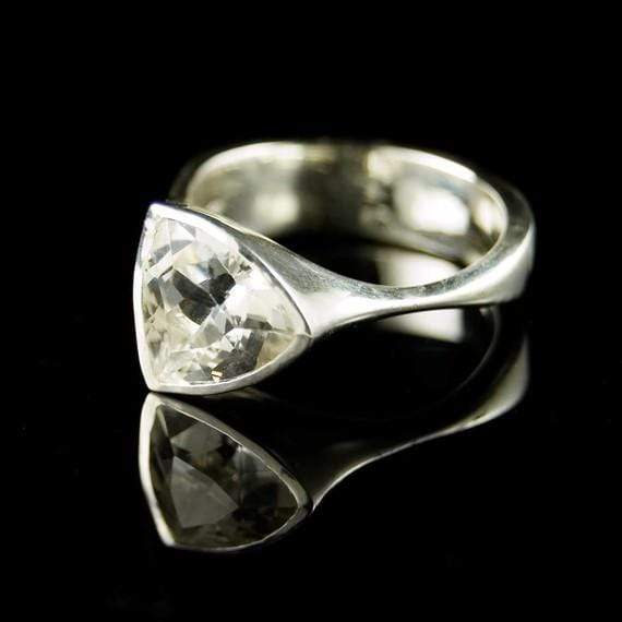 Trillion White Topaz Bezel Solitaire Statement Ring