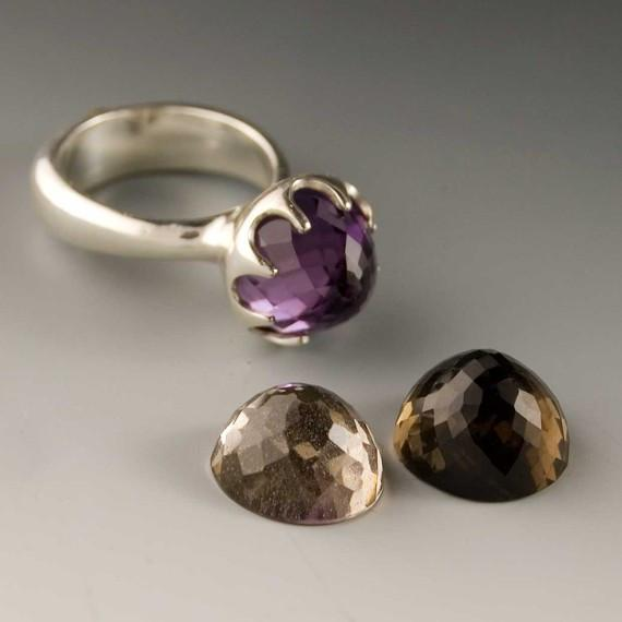 Crown  Statement Ring with Amethyst, Citrine or Smoky Quartz