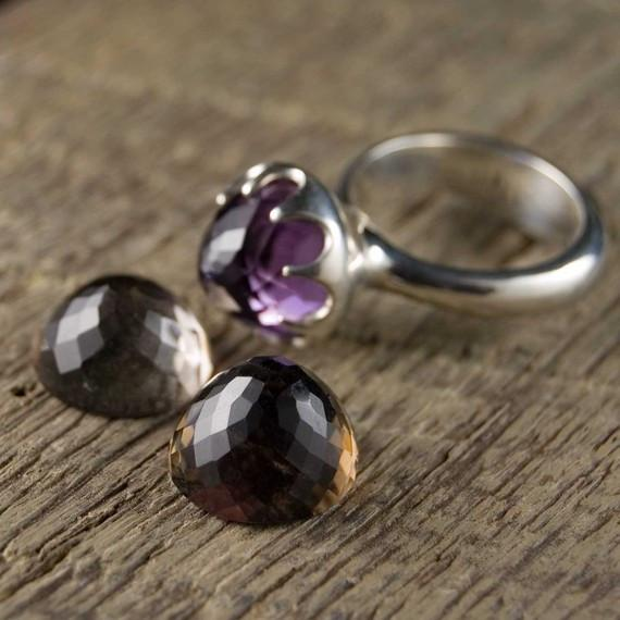 Crown  Statement Ring with Amethyst, Citrine or Smoky Quartz - by Nodeform