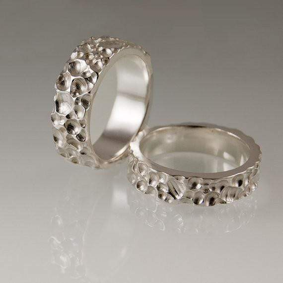 Crater Texture Wedding Rings, Set of 2 Bands
