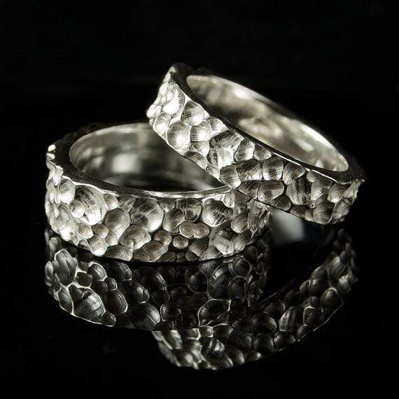 Crater Texture Wedding Ring Rustic Wedding Band